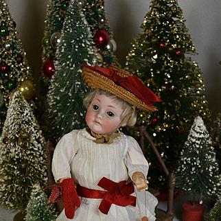 9.5 inch Kestner 143 in Red & White for Christmas or Valentine, Straw Hat, Tiny Santa, Bulldog Pet