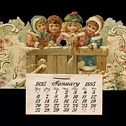 1895 Die Cut Winter Children Calendar, As Is
