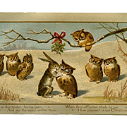 1884 Prang Christmas Card, Rabbit Kisses Owl Under Holly, Other Owls Watch, Rare Card