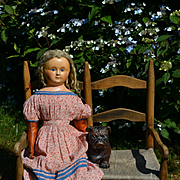 "Huge 34"" Wax Over Paper Mache Doll, Amazing Blond Wig, Pink Calico Dress, Sewn Stripe Stockings & Boots"