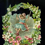 """7"""" Victorian Die Cut Girl in Swing in Flower Wreath"""
