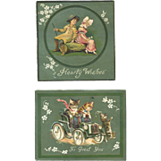 Two c. 1890s Cards, Cats Drive Auto, Greenaway Girls