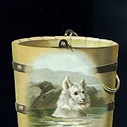Victorian Trade Card for Wine, Chromolitho Image of Dog Swimming in Die Cut Bucket
