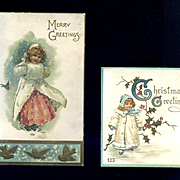 Two Victorian Cards with Winter Girls
