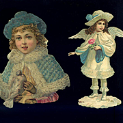 Two Victorian Die Cuts, Winter Girl and Angel