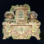 "1901 Partial Die Cut Calendar, Brundage Children on Bridge ""Watch Tower"""