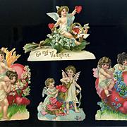 c. 1900 Victorian Die Cut Valentines Cupids, Flowers, Hearts,