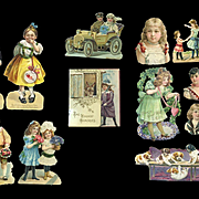 Group of 15 Victorian Die Cuts, Mostly Children, Some As Is