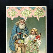 Early 1900s Santa, Girl and Doll German Christmas Postcard, Unused