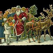 Victorian Christmas Die Cut, Santa, Sleigh, Reindeer, Children