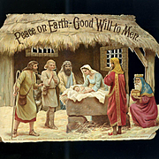 Large Victorian Die Cut 3-D Christmas Nativity Scene, Birn Bros 6 x 9