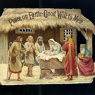 Large Victorian Die Cut 3-D Christmas Nativity Scene, Birn Bros 6 x 9