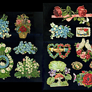 14 pc Victorian Die Cuts, Roses, Flowers, Hearts, Nice Pieces