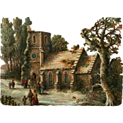 Large Winter Scene, Stone Church, People, Trees, Victorian Die Cut 8 x 6, Well Done