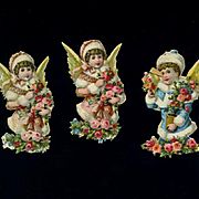 "3 Small Snow Angel Die Cuts, About 2-1/4"" ea."