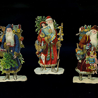 """3 Small Victorian Die Cut Santa Claus Figures About 3-1/4"""" tall"""