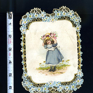 c. 1902 Victorian Die Cut Card, Forget Me Not Lattice Border, Girl with Flowers
