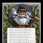 "Page from 1869 ""Visit of St. Nicholas"" by McLoughlin Santa Framed in Holly Berry"