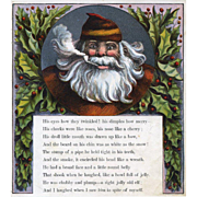 """Page from 1869 """"Visit of St. Nicholas"""" by McLoughlin Santa Framed in Holly Berry"""