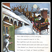 "Page from 1869 ""Visit of St. Nicholas"" by McLoughlin, Santa Sleigh on Rooftop"