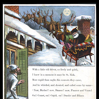 """Page from 1869 """"Visit of St. Nicholas"""" by McLoughlin, Santa Sleigh on Rooftop"""