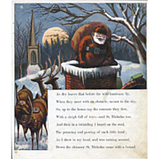 """Page from 1869 """"Visit of St. Nicholas"""" by McLoughlin, Santa Climbs in Chimney on Snowy Rooftop"""