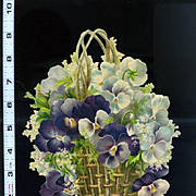 Basket of Pansies, Large Victorian Embossed Die Cut