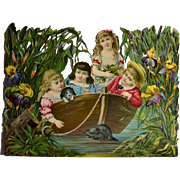 """Children with Puppy  in Row Boat Among Iris / Flowers Huge 12-1/2"""" x 9-1/2"""" Victorian Die Cut"""