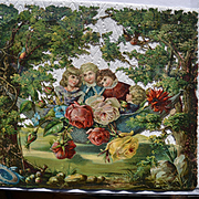 Children in Hammock Under Shade Trees, Roses, Birds, Huge 12 x 11 Victorian Scenic Die Cut