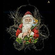 Victorian Tinsel & Santa Die Cut Christmas Ornament (A)