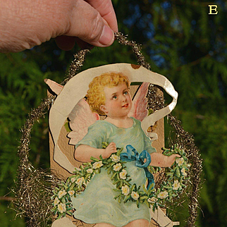Victorian Tinsel Christmas Ornament with Angel in Blue (E)