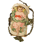 Victorian Tinsel Christmas Ornament with Angel Child in Pink (F)
