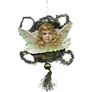 Victorian Tinsel Christmas Ornament, Angel Head with Wings, Mercury Glass Bead (C)