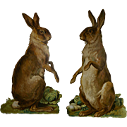 Easter Rabbits, Pair Large Victorian Die Cuts