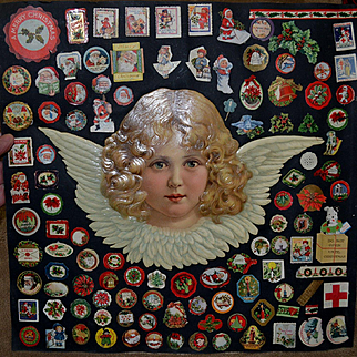 Huge Victorian Die Cut Angel, 90+ Christmas Labels, Stickers on Scrapbook Page