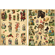 11 Santa Claus Die Cuts on Large Victorian Scrapbook Page, Back has Fairytale Scrap / Dogs, Cats, Frogs +