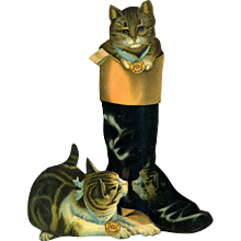 11.50 in. Tall Cats Play in Boot Advertising Die Cut, Berry's Oil Blacking