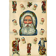Unusual Large Portrait Santa in Blue Hood w Holly, Santa Figures on Victorian Scrapbook Page