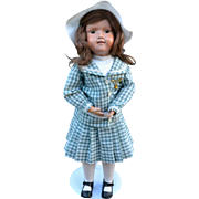 """19-1/2"""" Schoenhut, Incised Mark, Excellent Original Finish, Nailed on Wig, Custom Dress, Ready to Adopt!"""