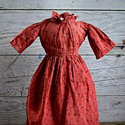 Antique Turkey Red Doll Dress, 14 in. long x 10.50 waist