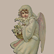 Large 10 inch Victorian Die Cut Snow Child Angel