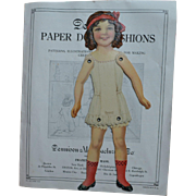 c.1920s Dennison Jointed Paper Doll, Book with Patterns, Crepe Paper Cut Out Clothes