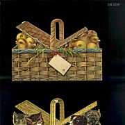 Victorian Die Cuts 2 Baskets Full of Kittens, Puppies, Chicks