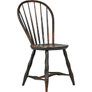 American Windsor Antique Bowback Side Chair, 19th Century w/ Black Paint