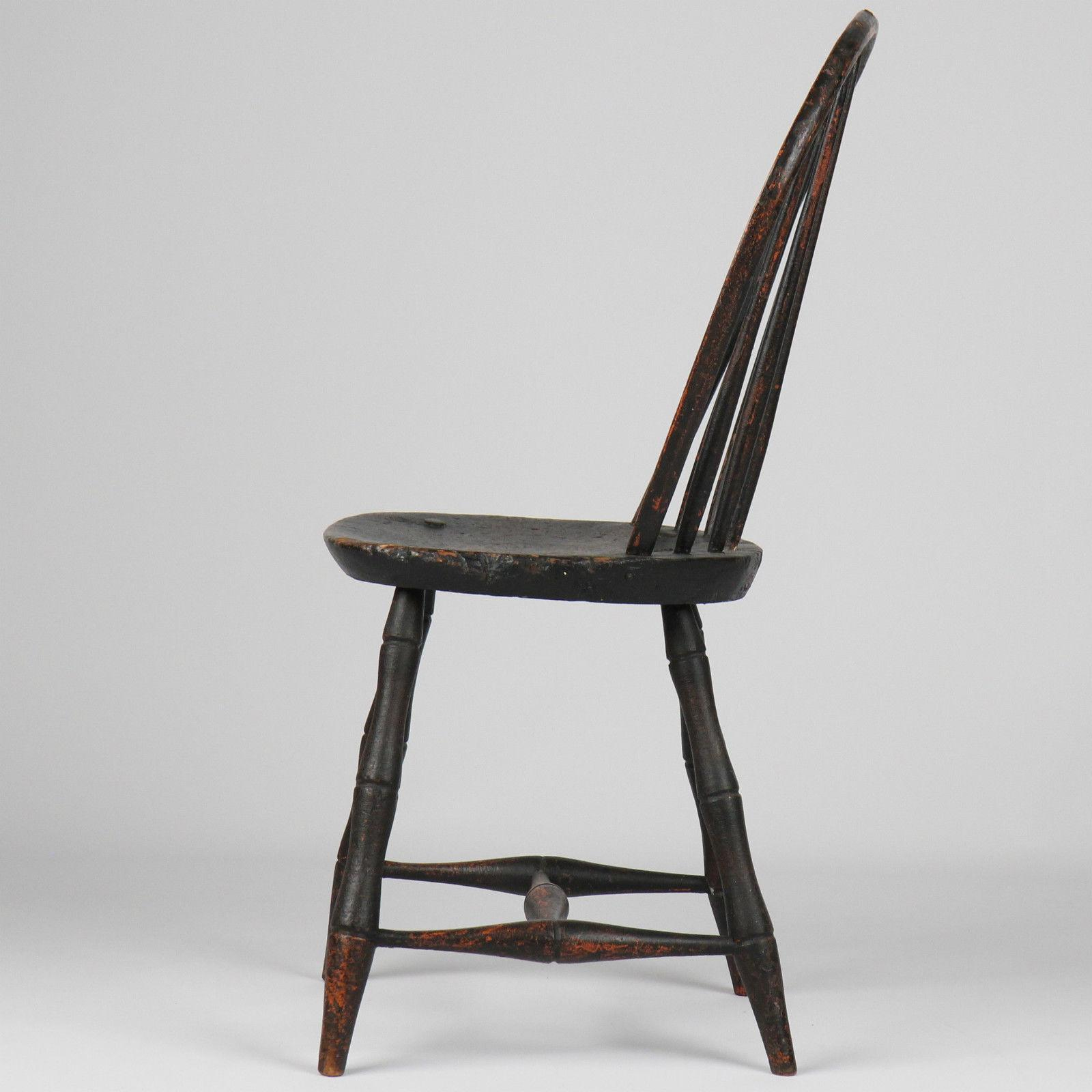 American Windsor Antique Bowback Side Chair, 19th Century w/ Black ...