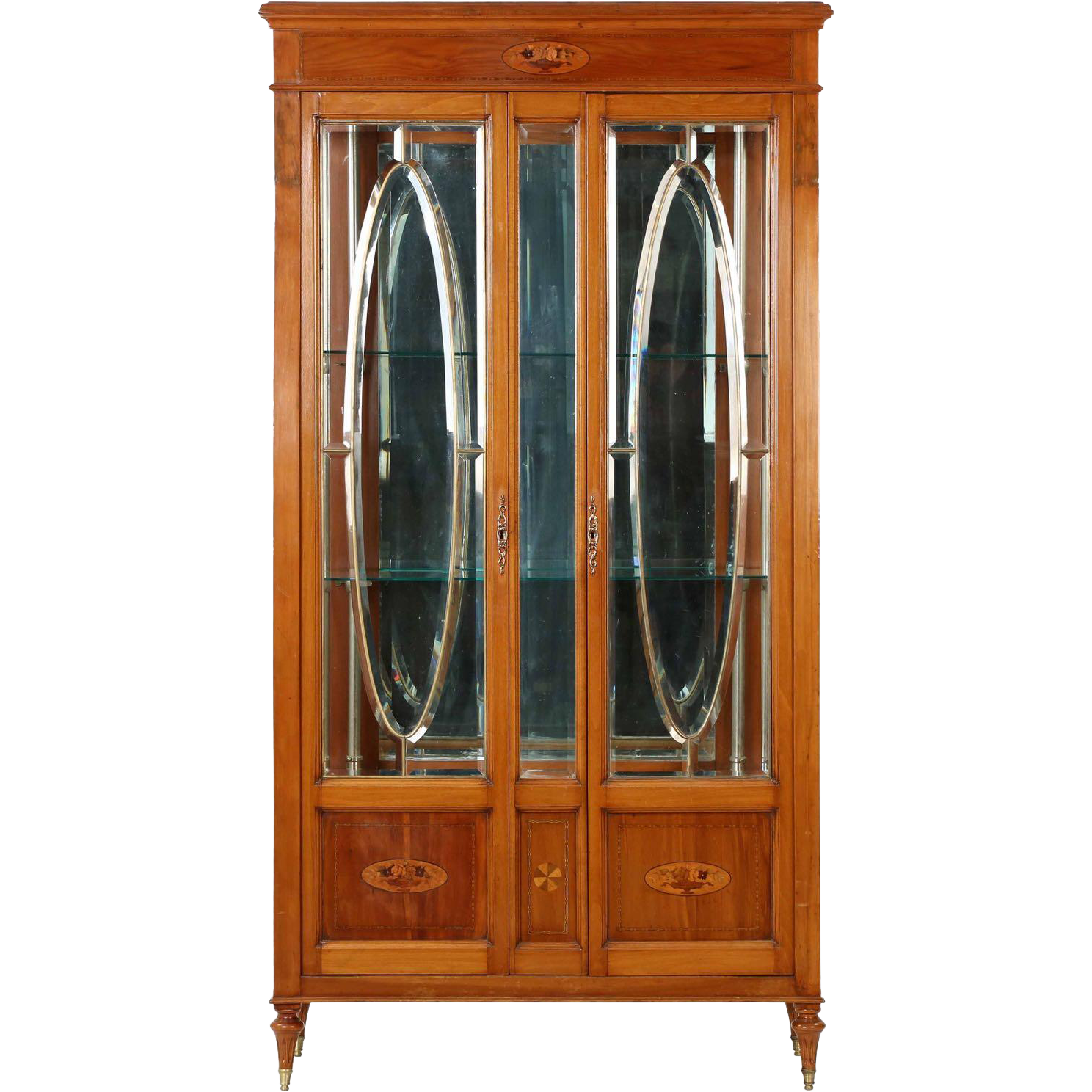 Edwardian antique glass display cabinet in french taste for Antique display cabinet