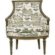 French Louis XVI Green Painted Antique Arm Chair