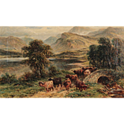 William Langley Antique Oil Painting of Cows Cattle in Highlands, Signed