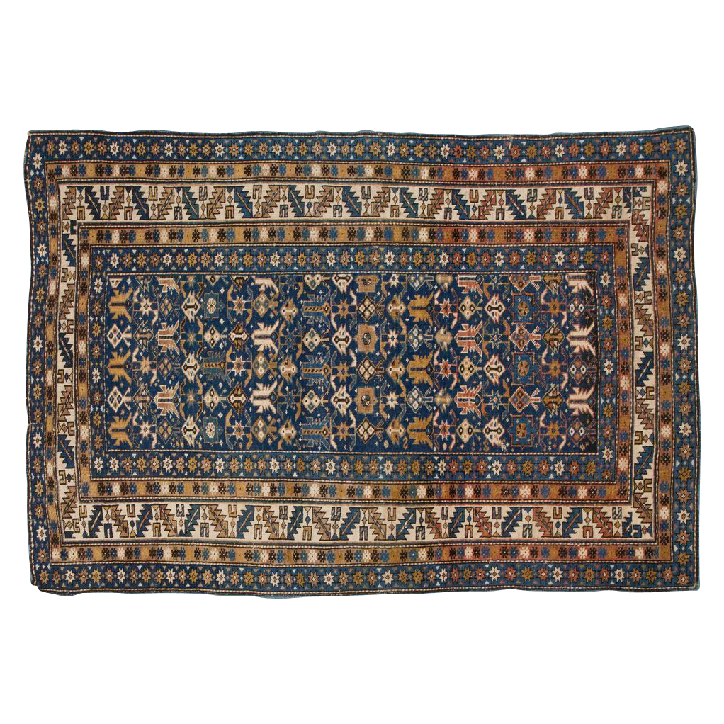 Small Antique Shirvan Caucasian Oriental Rug with Blue Ground, c. 1900