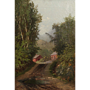 Fine Antique Oil Painting of Wooded Landscape w/ Cabin, William Raphael (Canadian, 1833-1914)